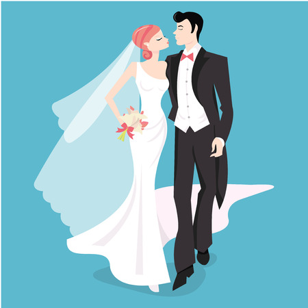 nuptials: A stylized vector illustration of a bride and her groom.