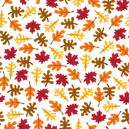 A vector illustration of retro fall leaves seamless pattern background.