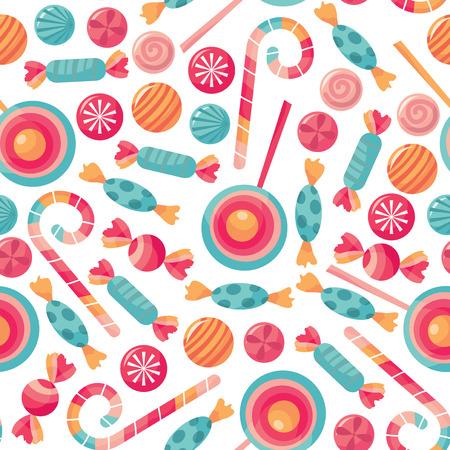 사탕 취급 상점 테마에 새로운 인쇄 패턴의 벡터 일러스트.
