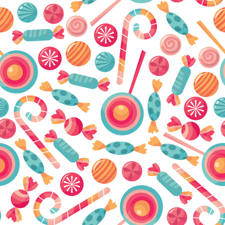 A vector illustration of novelty print pattern in candy treats shop theme. Vectores