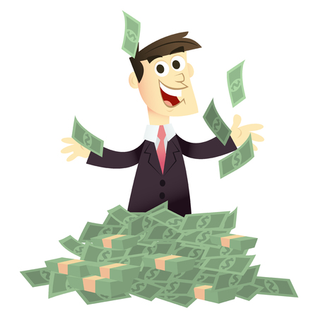 pile of cash: A vector illustration of a businessman in a pile of cash looking happy.