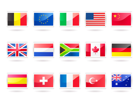 A vector illustration collection of 15 popular flags:- Belgium,  European Union, Italy, USA, China, UK, Netherlands, South Africa, Canada, Germany, Spain, Switzerland, France, Turkey and Australia.