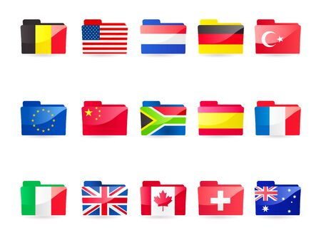 A vector illustration collection of 15 flag folders:- Belgium,  European Union, Italy, USA, China, UK, Netherlands, South Africa, Canada, Germany, Spain, Switzerland, France, Turkey and Australia Vector