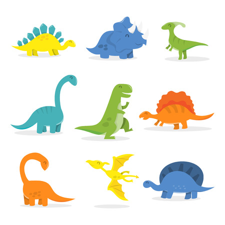 cartoon t rex: A vector cartoon illustration of happy dinosaurs set. Included in this set: t-rex,triceratops,tyrannosaurus,Pterodactyls,Stegosaurus,spinosaurus,long neckApatosaurus and more.