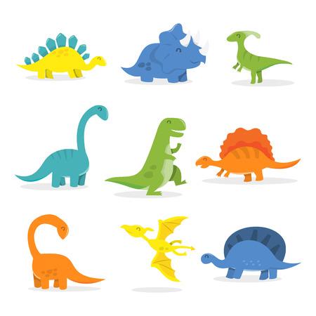 stegosaurus: Un ejemplo de la historieta del vector de los dinosaurios felices establecido. Incluido en este conjunto: t-rex, triceratops, tyrannosaurus, pterod�ctilos, Stegosaurus, Spinosaurus, cuello largo  Apatosaurus y m�s. Vectores