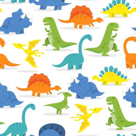 Een vector illustratie van een leuke en kleurrijke cartoon dinosaurussen thema naadloze patroon achtergrond. Stock Illustratie
