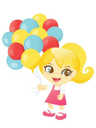child smile: A cartoon vector illustration of a cute and happy girl in carrying a bunch of colorful balloons.