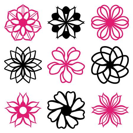 formal garden: A vector illustration line art of nine different floral filigree flourish. Illustration