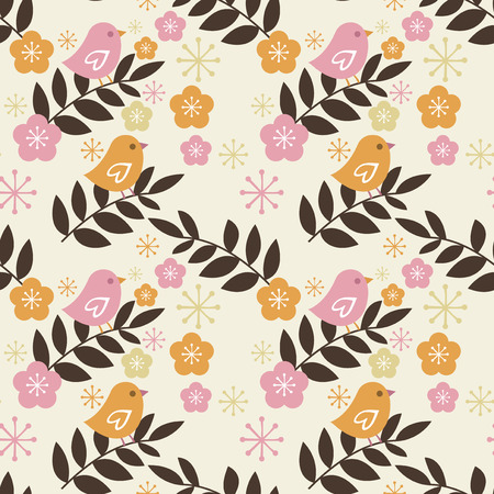 A vector illustration of a seamless pattern background with retro bird and cherry blossom. Vector