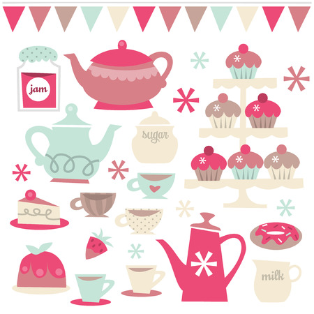 tier: A vector illustration set of retro tea party theme design elements. Included in this set:- teapots, teacups, saucer, cupcakes, cakes, jam and more.