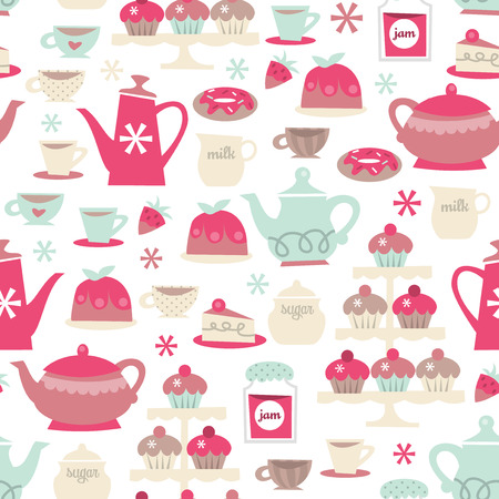 A vector illustration seamless pattern background of retro tea party theme. Illustration