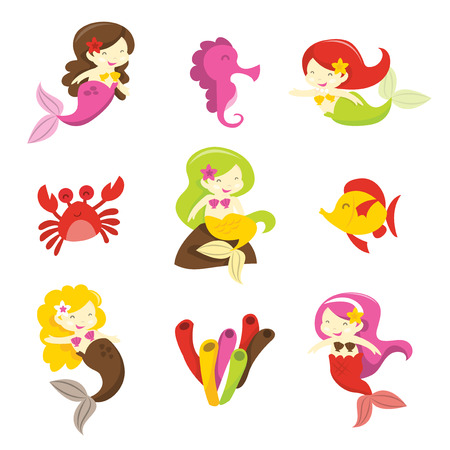 A cartoon vector illustration of a group of mermaids and their sea creature friends. Illustration