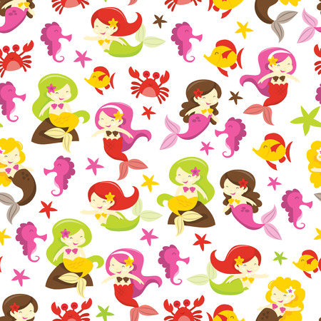 cartoon seahorse: A vector illustration of mermaids and friends theme seamless pattern background.