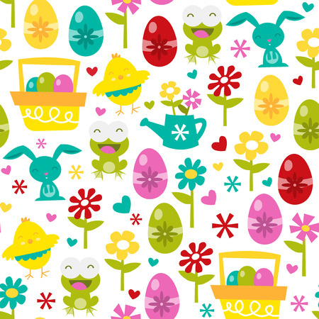 A vector illustration seamless pattern background of happy easter love theme. Vector