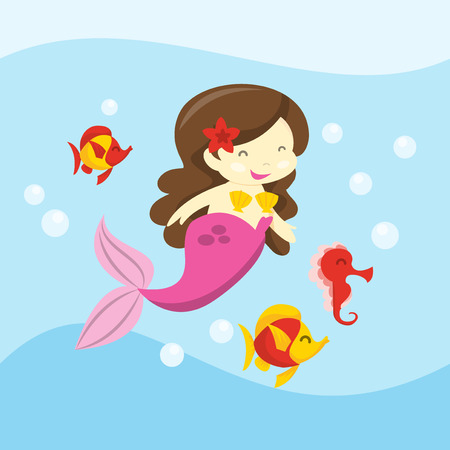 sea creatures: A cartoon vector illustration of a happy mermaid swimming along with her sea creatures friends. Illustration