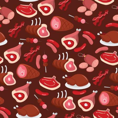 fiambres: Una ilustración vectorial de gracioso y oscura embutidos patrón de fondo sin fisuras. Vectores