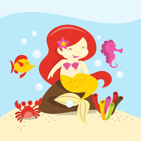 A cartoon vector illustration of a happy red hair mermaid sitting on a rock underwater. Vector
