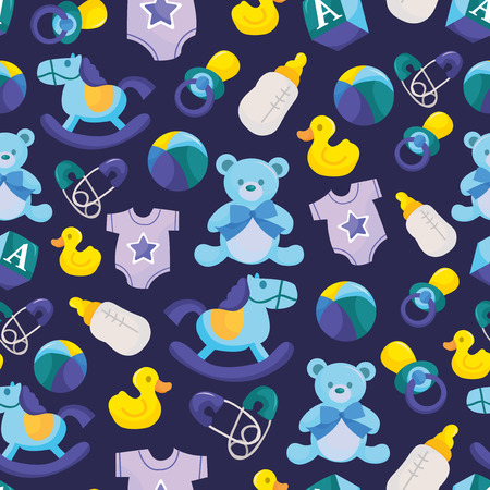 A vector illustration of cute blue baby boy seamless pattern background.
