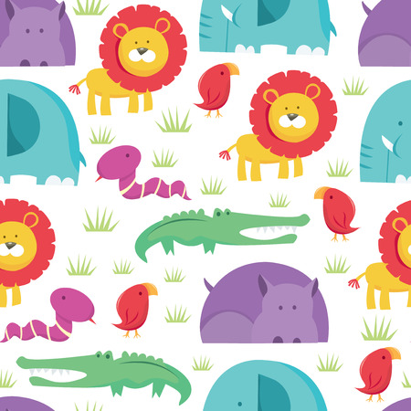 animal vector: A vector illustration of colorful and cute safari animals seamless pattern background. Ideal for kidschildren related marketing collateral.