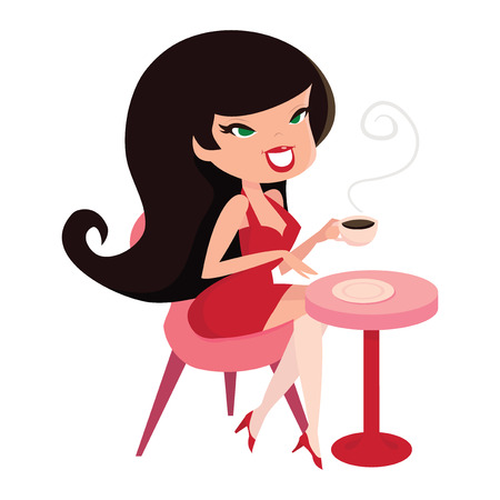 A cartoon vector illustration of a cute pinup girl sitting down with her coffee.