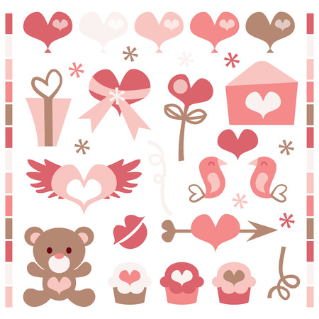 clip arts: A collection of cute retro clip arts for valentines day and romance. Illustration