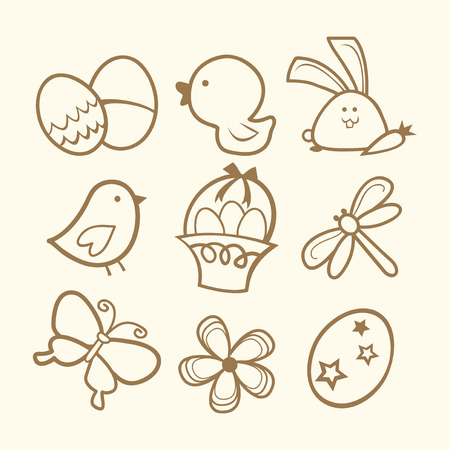 formal garden: A vector illustration of nine different easter related icons styled in doodle line art.
