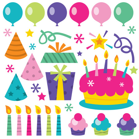 A vector illustration of birthday party related design elements. Fun and whimsical. Illustration