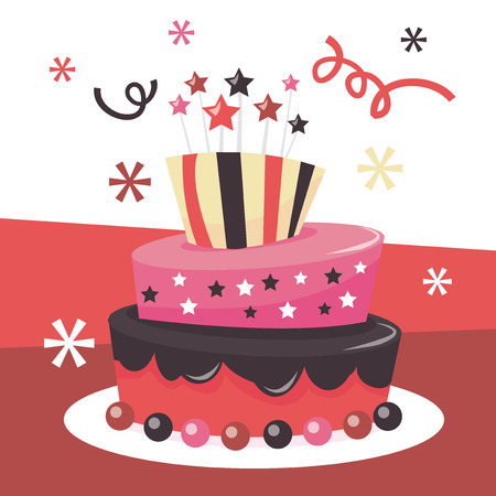 tier: A vector illustration of a cute whimsical tier mad hatter fondant icing birthday cake.