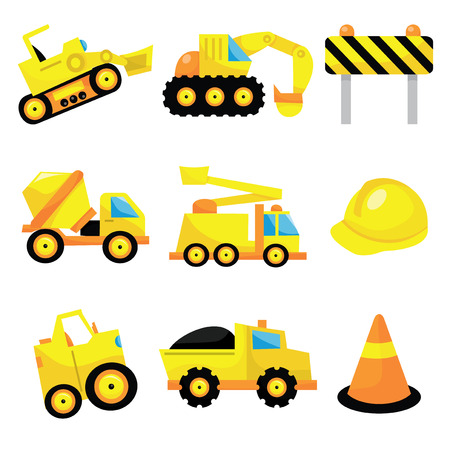 A vector illustration set of cute construction icons like dumper truck, construction hat to cone. Vectores