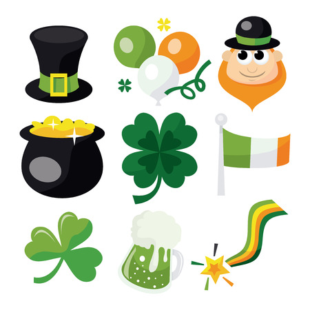 A vector illustration of a collection of st. patricks day icons