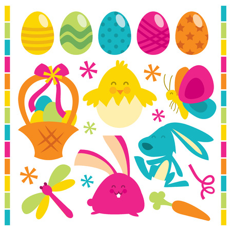 public celebratory event: A vector illustration set of cute and happy retro easter related clip arts. Illustration