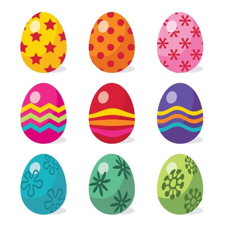 multi coloured: A vector illustration of multicolor funky patterned (star, stripes and floral patterns) easter eggs.
