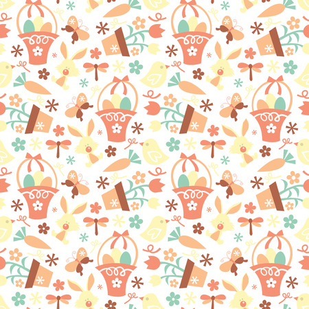 public celebratory event: A vector illustration of a seamless cute retro easter pattern.