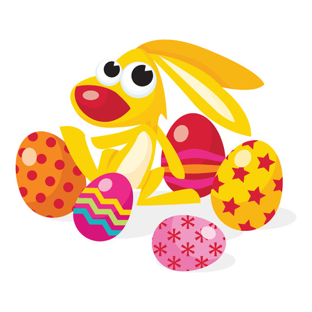 easter eggs: A cartoon vector illustration of a cute easter bunny with colorful multipattern easter eggs