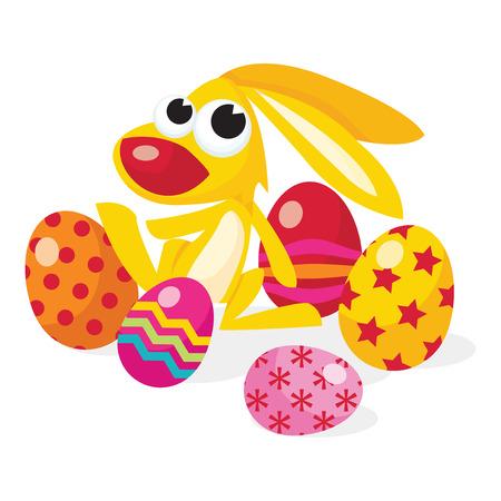 osterhase: Ein Cartoon-Vektor-Illustration eines niedlichen Osterhasen mit bunten Mehrfachmuster Ostereier Illustration