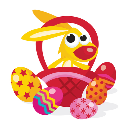 multi coloured: A cartoon vector illustration of a cute easter bunny inside a basket with colorful multipattern easter eggs. Illustration