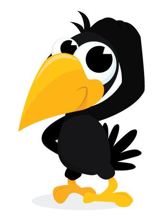 cuervo: Una ilustración vectorial de dibujos animados de un cuervo linda rascarse la cabeza.