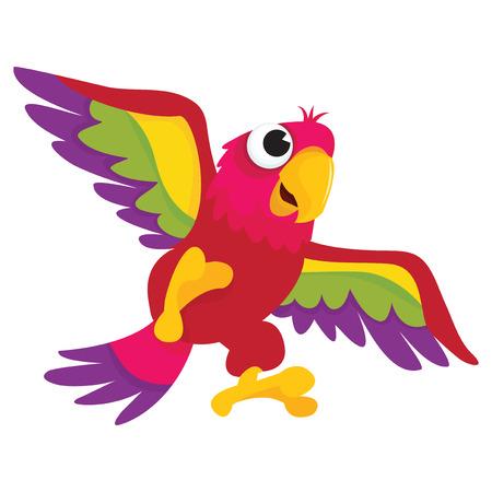 cotorra: Una ilustración vectorial de dibujos animados de un loro feliz volando en el aire. Vectores