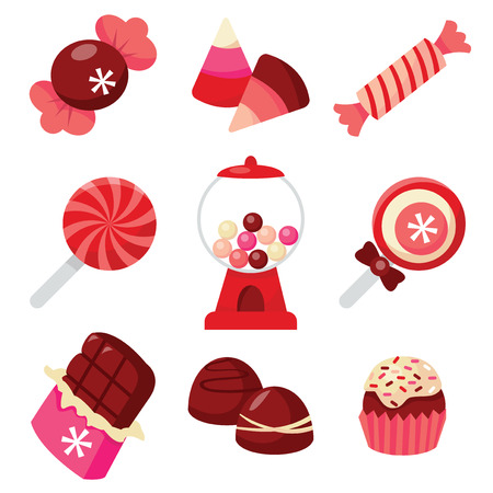 bonbon: A vector illustration of chocolates and candies. This set includes sweets,candies, lollipops, gum ball dispenser, chocolate bar, truffles and bonbon.
