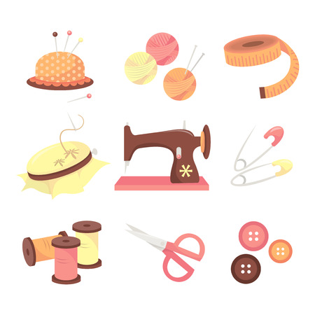 A vector illustration set of various sewing and haberdashery items such as pin cushion, wool,tape measure,needlecraft, sewing machine, pin,thread,scissors,buttons and needles.