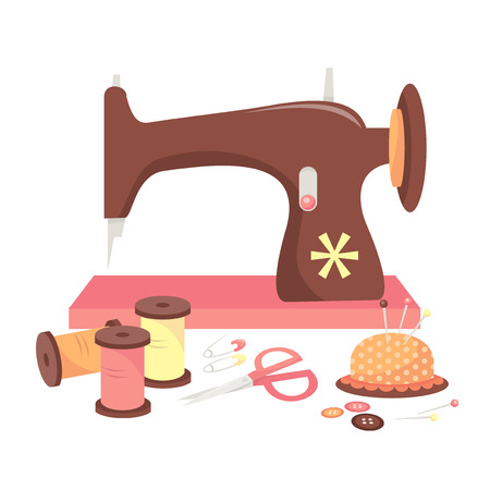 A vector illustration of a sewing machine and some haberdashery like threads, buttons and pins.