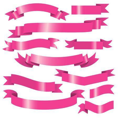 pink banner: A vector illustration set of pink shiny banners and ribbons. The effects was done using simple gradient. Illustration