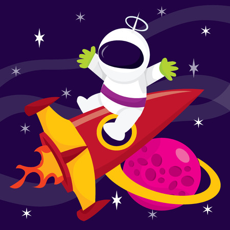 blasting: A cartoon vector illustration of extreme space adventure. An astronaut sitting on spaceship blasting off into space.