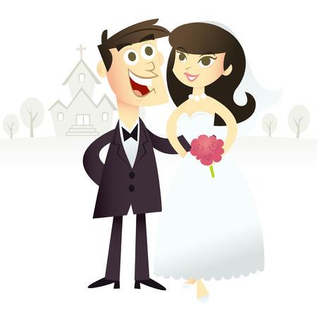 chapel: A retro cartoon illustration of happy bride and groom outside of a chapel.