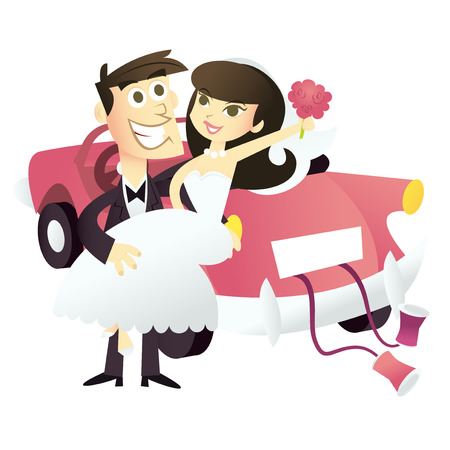 A retro cartoon illustration of happy bride and groom who are just married.