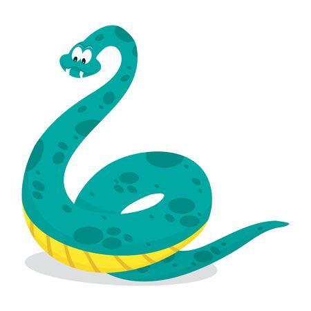 com escamas: A cartoon vector illustration of a green cartoon happy spotted snake.