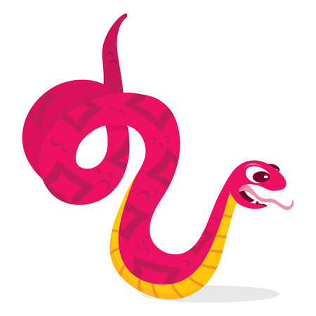 A cartoon vector illustration of a vicious pink snake.