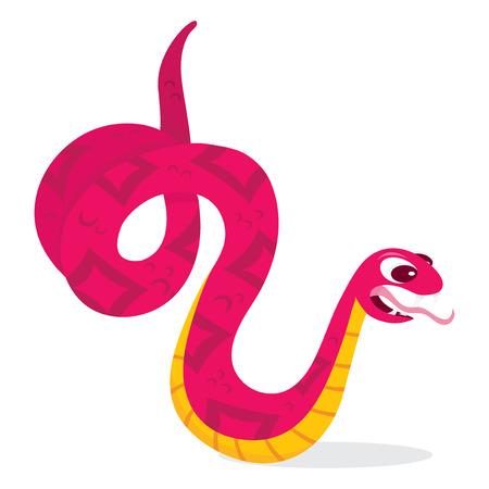 serpiente caricatura: Una ilustración vectorial de dibujos animados de una serpiente de color rosa vicioso. Vectores