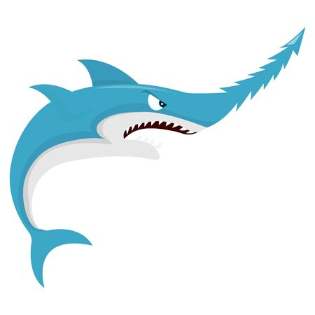 vicious: A cartoon vector illustration of a mean vicious shark with saw like snout.