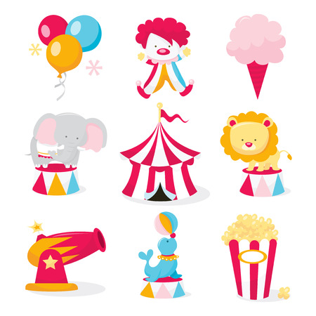A vector illustration set of cute circus theme clip arts like circus tent, circus animals,clowns and carnival snacks.